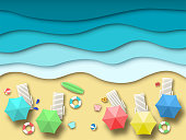 Paper sea beach. Summer holiday landscape with sand, ocean and sun, summertime relaxation 3d origami. Paper art vector relax drawing top view background