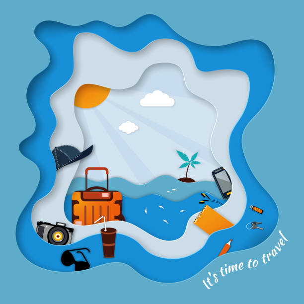 Paper seascape It's time to travel. In the foreground travel accessories. Paper seascape It's time to travel. In the foreground travel accessories: suitcase, keys, gadgets, sunglasses, cap and drink. Vector illustration beach borders stock illustrations