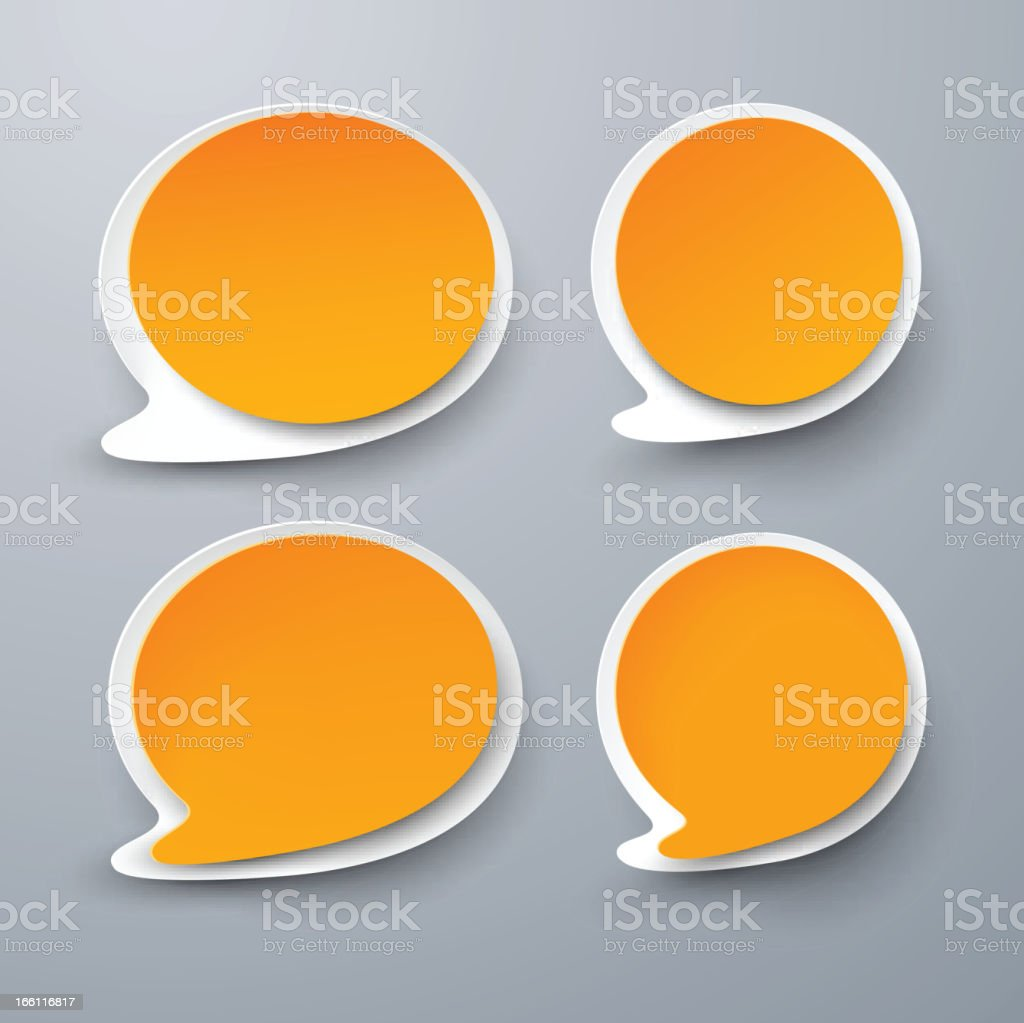 Paper set of rounded orange speech bubble. royalty-free stock vector art