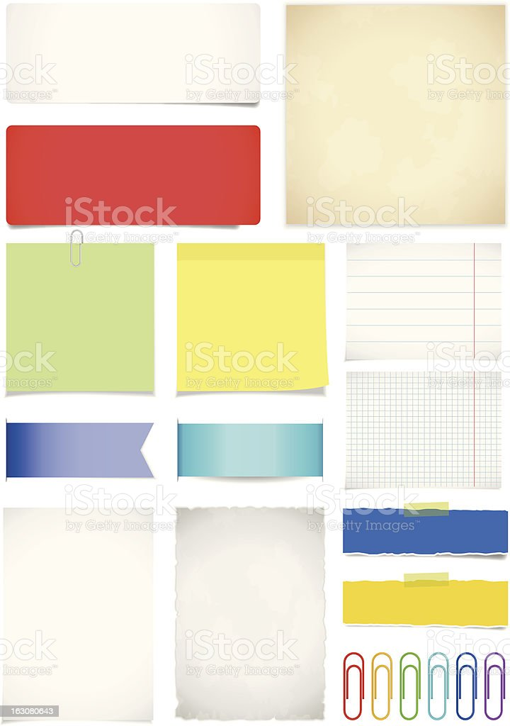 Paper set royalty-free stock vector art