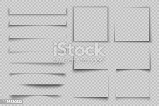 Paper shadow effect. Rectangle box square shadow, realistic transparent label element, banner poster flyer vector shadow set