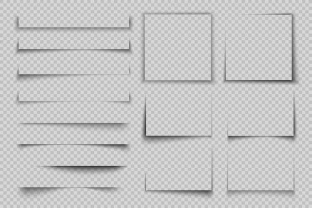 papierschatteneffekt. viereckbox-quadratischer schatten, realistisches transparentes etikettenelement, banner-plakat-flyer-vektorschatten - buchseite stock-grafiken, -clipart, -cartoons und -symbole