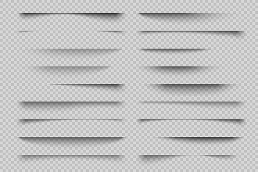Paper shadow effect. Transparent page divider realistic shadows, website panel tabs, banner vector shadow templates