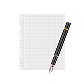 istock Paper sheet and ink pen vector illustration 1299493679
