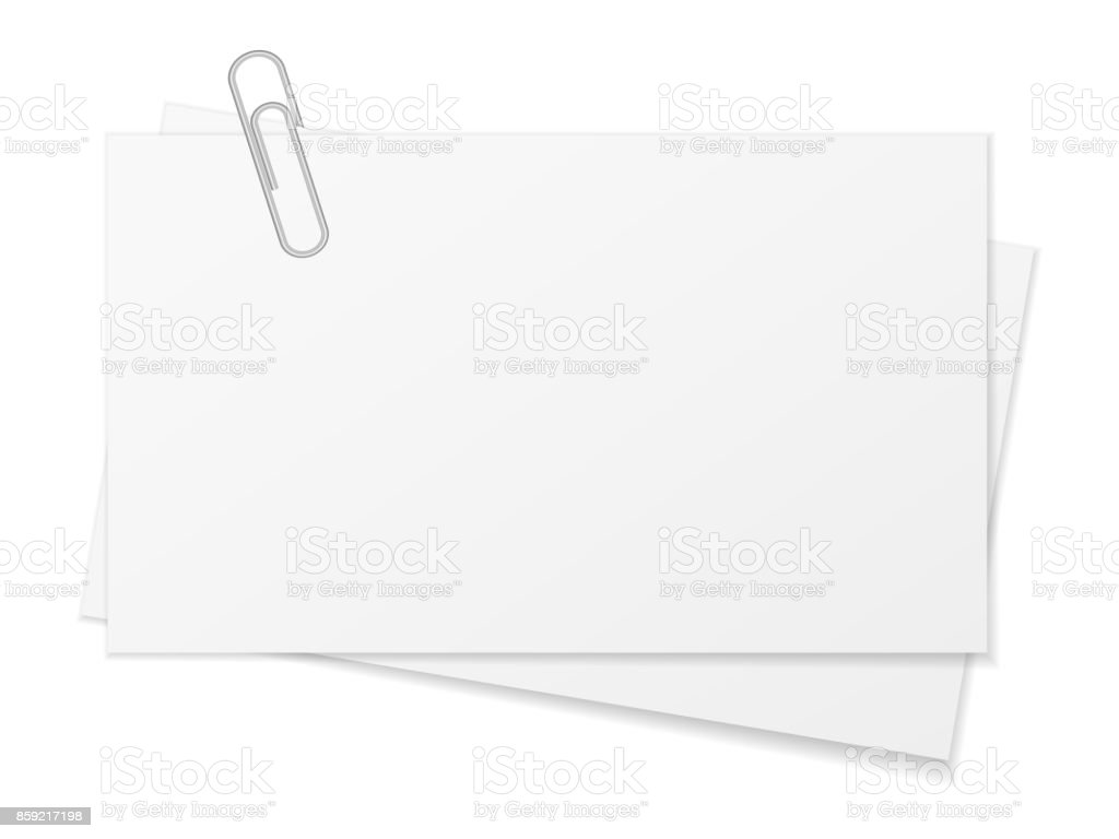 Paper sheet and paper clip vector art illustration