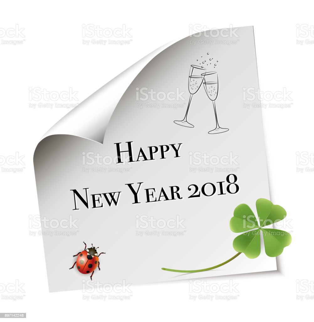 Paper sheet happy new year with shamrock ladybug and champagne paper sheet happy new year with shamrock ladybug and champagne glasses greeting card stopboris Images