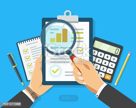 istock Paper sheet in hand with magnifier, paperwork, consultant, concept business adviser, financial audit, seo analytics, auditing tax process, big data analysis, research report, market stats calculate 1031072068