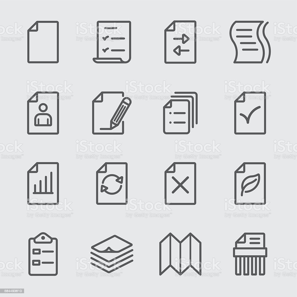 Paper sheet line icon vector art illustration