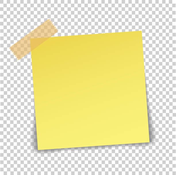 ilustrações, clipart, desenhos animados e ícones de folha de papel na fita adesiva translúcida com sombra isolada em um fundo transparente. modelo de nota amarela vazia para seu projeto. ilustração vetorial - post it