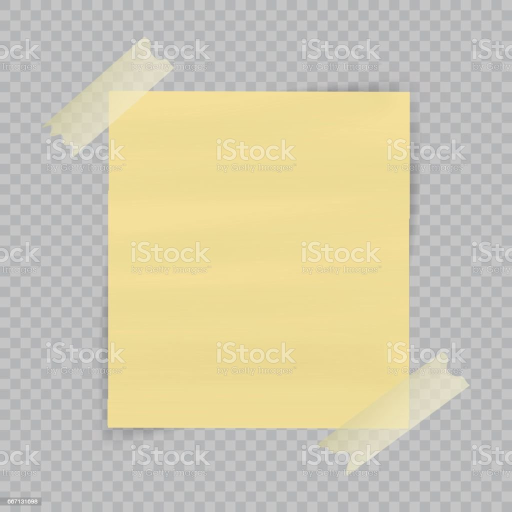 Paper sheet on translucent sticky tape with transparent shadow isolated on checkered background. Empty yellow note template for your design. Vector illustration vector art illustration
