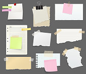 Notes and reminders or paper with clips, pin and tape. Torn sheets pieces to write short messages for office and work place. Stationery and color bookmarks with sticky side vector isolated
