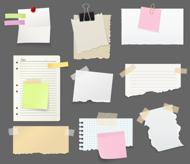 Paper sheet pieces for notes and reminders vector Notes and reminders or paper with clips, pin and tape. Torn sheets pieces to write short messages for office and work place. Stationery and color bookmarks with sticky side vector isolated scrapbook stock illustrations