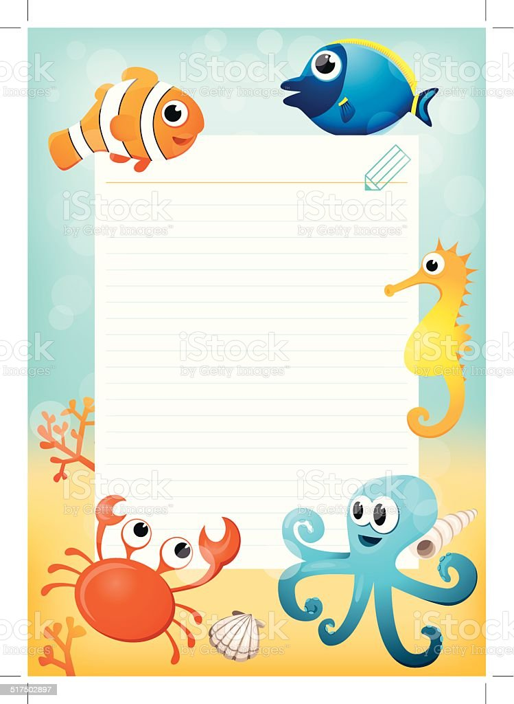 Paper Sheet Vorlage Mit Cartoonmeertiere Im Hintergrund Vektor ...
