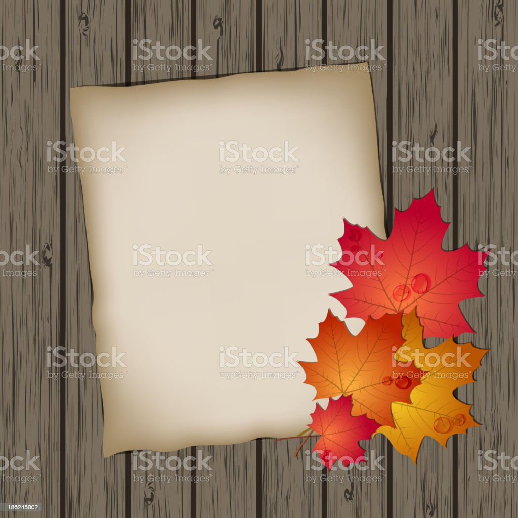Paper sheet with autumn leaves royalty-free stock vector art