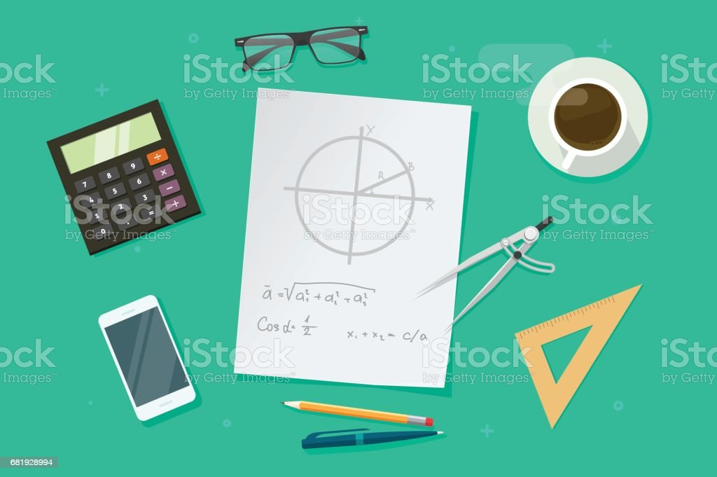 Ilustración de Hoja De Papel Con Fórmulas Matemáticas De Geometría Y ...