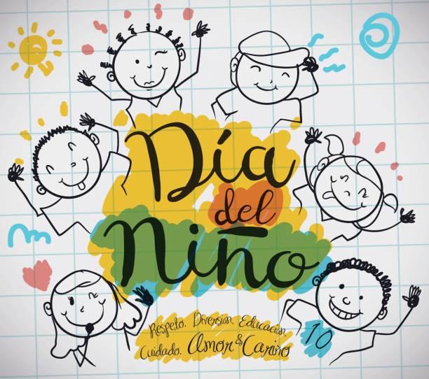 stockillustraties, clipart, cartoons en iconen met papier vel met kids tekening voor spaanse children's day - kinderdag