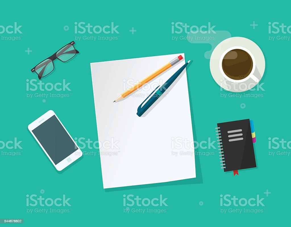 Paper sheet with pencil pen on workdesk vector, working table vector art illustration