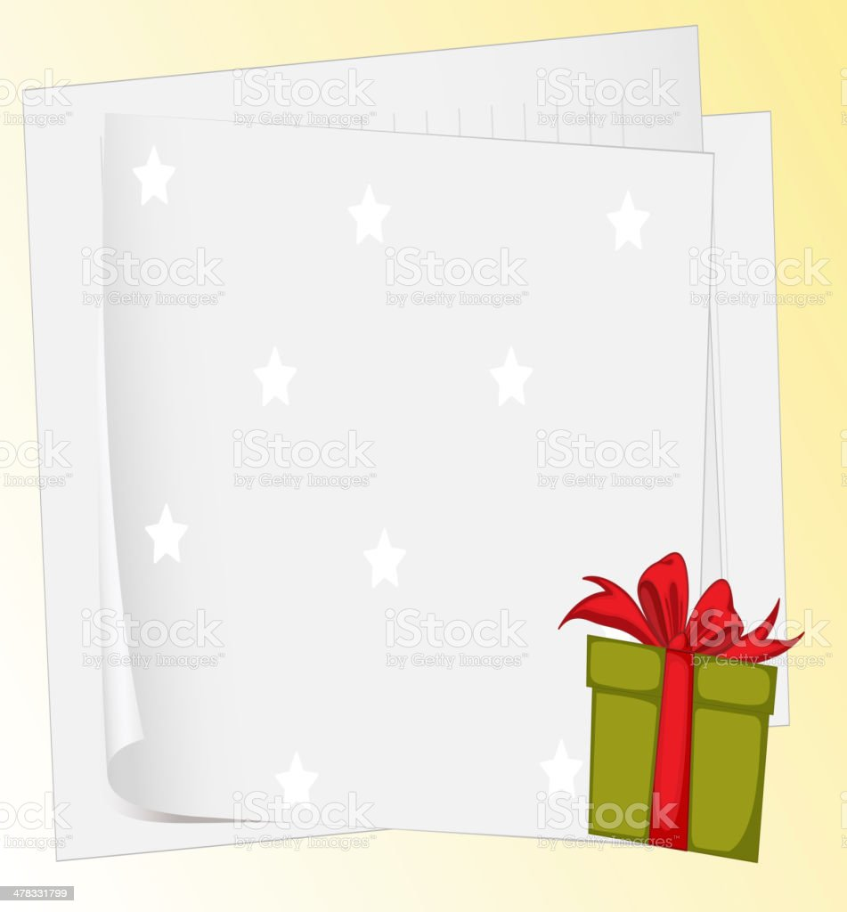 Paper sheets and gift box royalty-free stock vector art