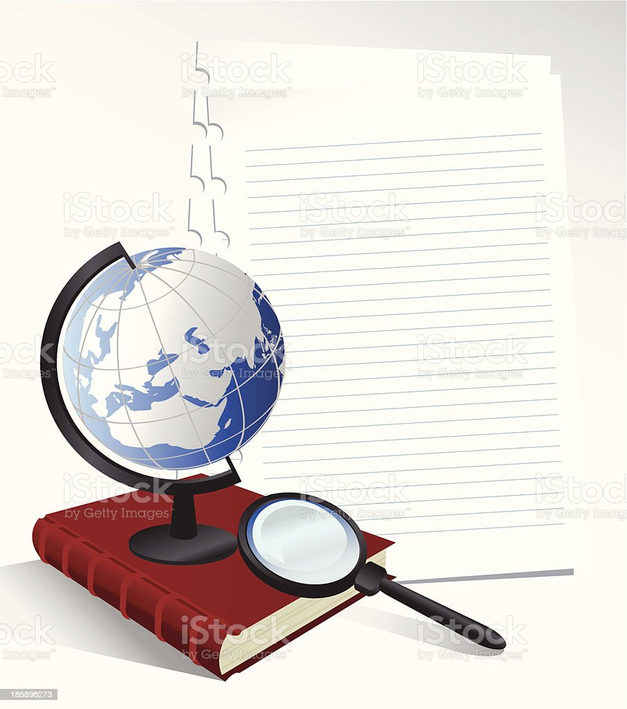 Paper Sheets and Globe vector art illustration