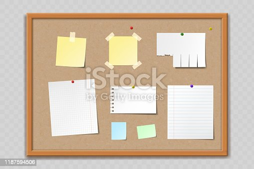 istock Paper sheets and stickers on cork bulletin board 1187594506