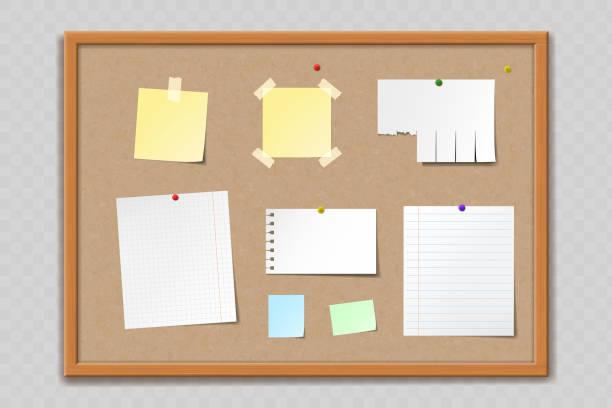 コルク掲示板の紙シートとステッカー - メモ点のイラスト素材/クリップアート素材/マンガ素材/アイコン素材