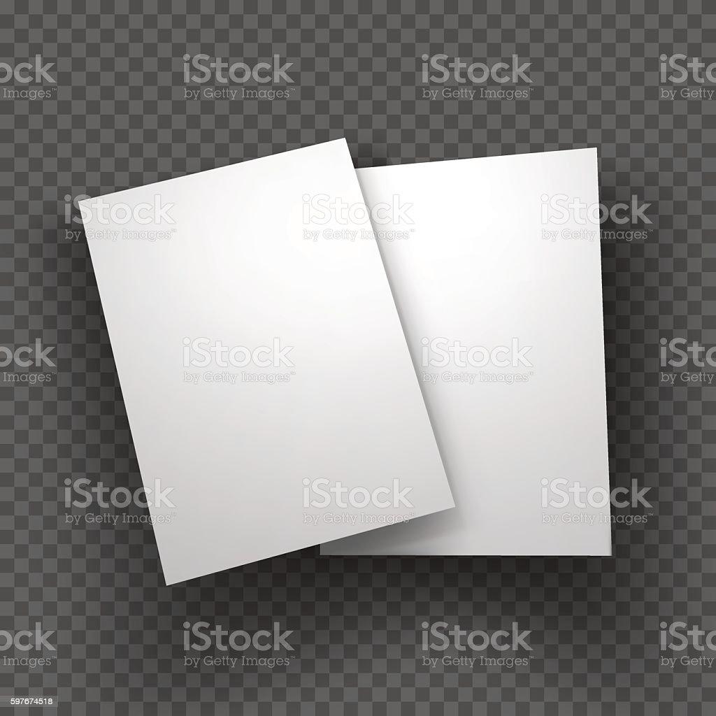 Paper sheets mockup on transparent background. Vector Illustration. vector art illustration