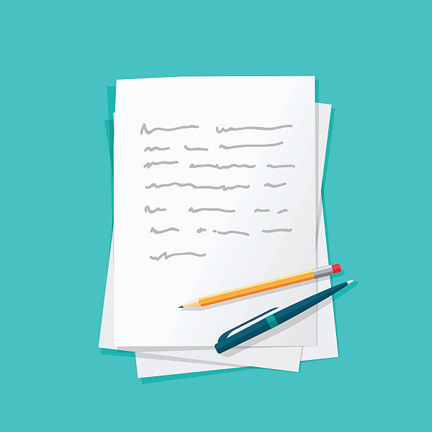 Paper sheets pile abstract text with pen and pencil vector Paper sheets pile with abstract written text with pen and pencil top vector illustration, concept or writing letter, message, education, author workplace isolated on color background writing activity stock illustrations