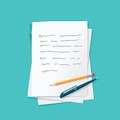 Paper sheets pile abstract text with pen and pencil vector