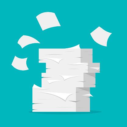 Paper sheets pile.