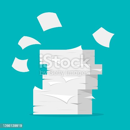 Paper sheets pile. Paperwork and office routine. Heap of white papers on blue background in a flat trendy style.