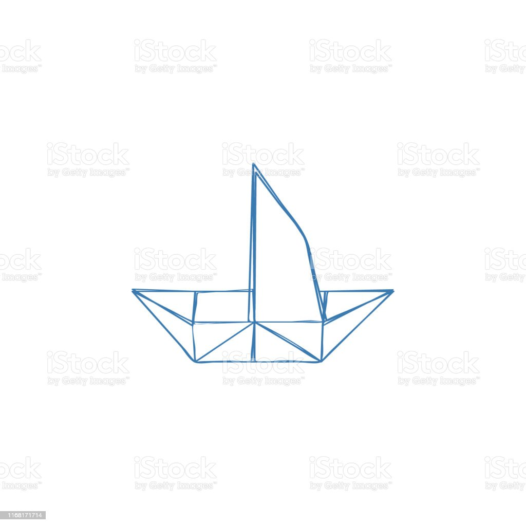 Paper Ship icon, paper marine icon. Yacht, sailboat, boat sign,...