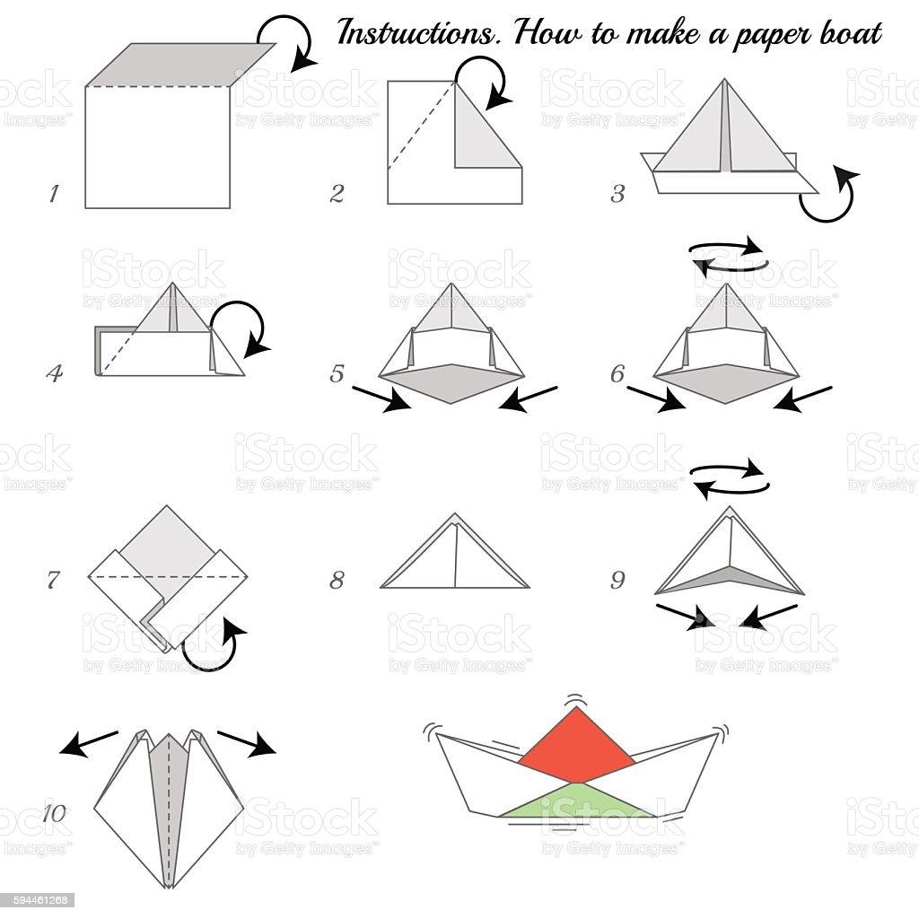 Paper Ship Instructions vector art illustration