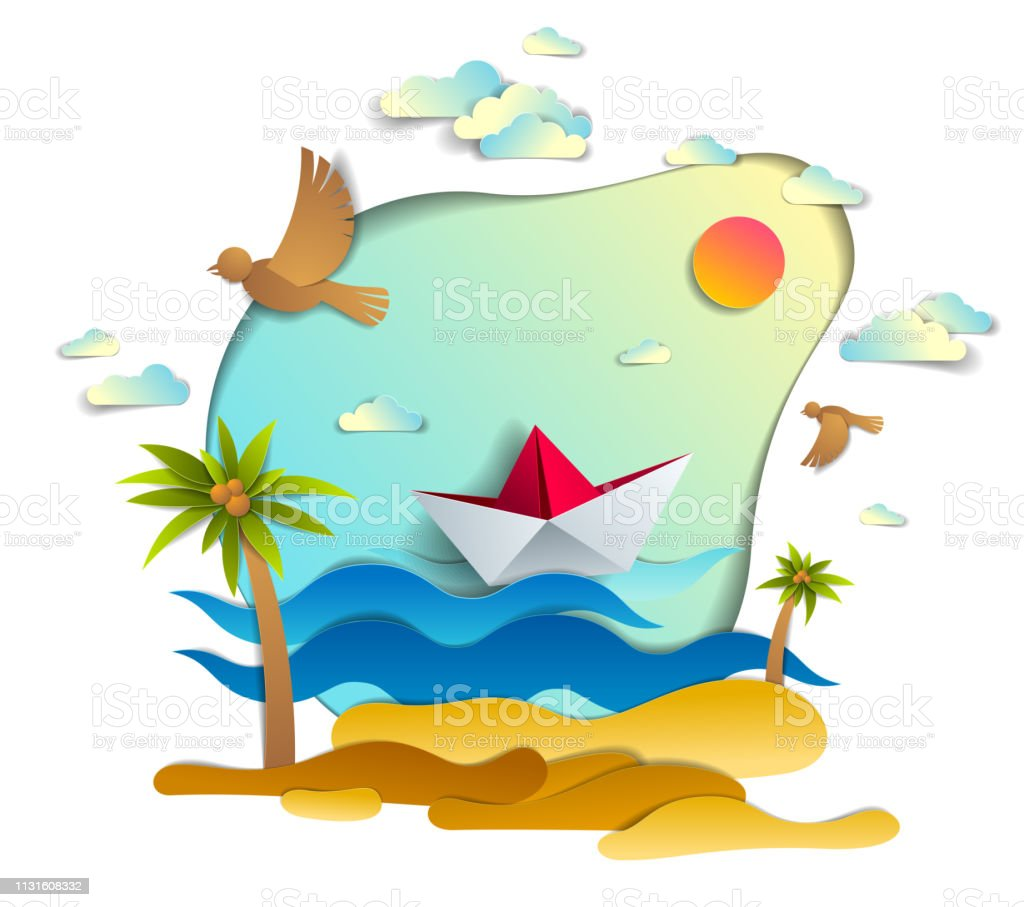 671b9c3ac8cc1 Paper ship swimming in sea waves with beautiful beach and palms, origami  folded toy boat floating in the ocean with beautiful scenic seascape with  birds and ...