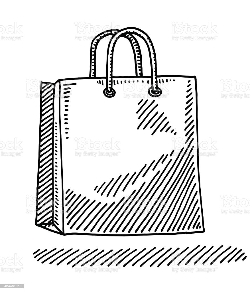 how to draw a shopping bag