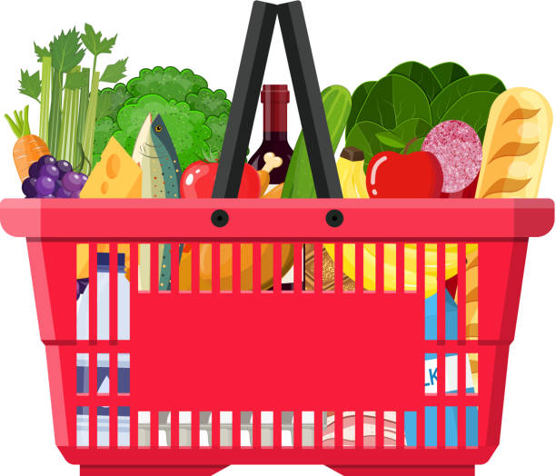 paper shopping bag full of groceries products. - kosz na zakupy stock illustrations