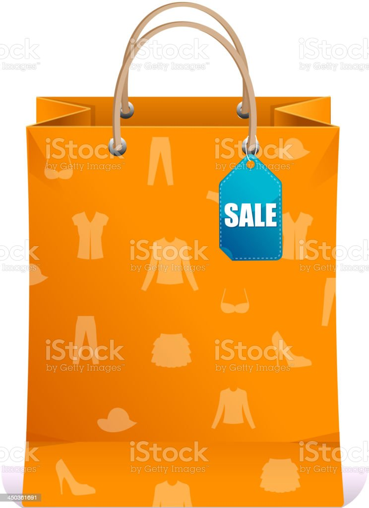 Paper shopping bag orange royalty-free stock vector art