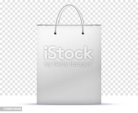 Paper Shopping Bag Vector Illustration Isolated On Transparent Background