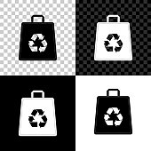 Paper shopping bag with recycle icon isolated on black, white and transparent background. Bag with recycling symbol. Vector Illustration
