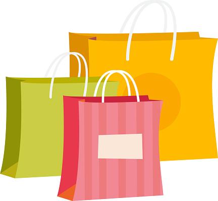 Paper shopping bags vector cartoon illustration