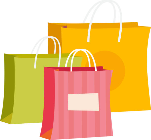 paper shopping bags vector cartoon illustration - shopping bags stock illustrations