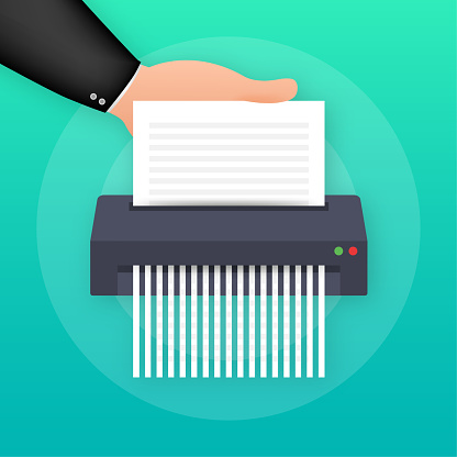 Paper shredder icon document business office information protection. Vector illustration.
