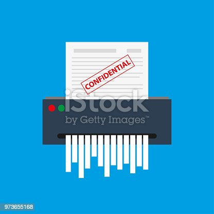 paper shredder,isolated on blue background,cartoon vector illustration