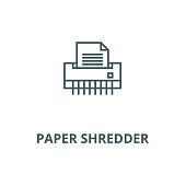Paper shredder,office printer vector line icon, linear concept, outline sign, symbol