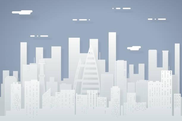 Paper Silhouette Seamless Urban Landscape City Real Estate Summer Day vector art illustration