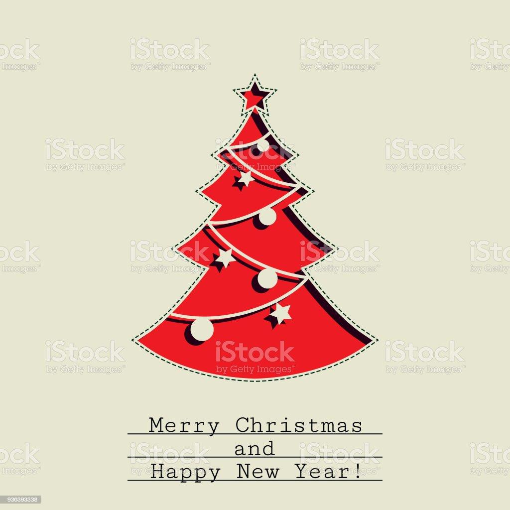 Paper Simple Handmade Christmas Tree Retro Background Royalty Free