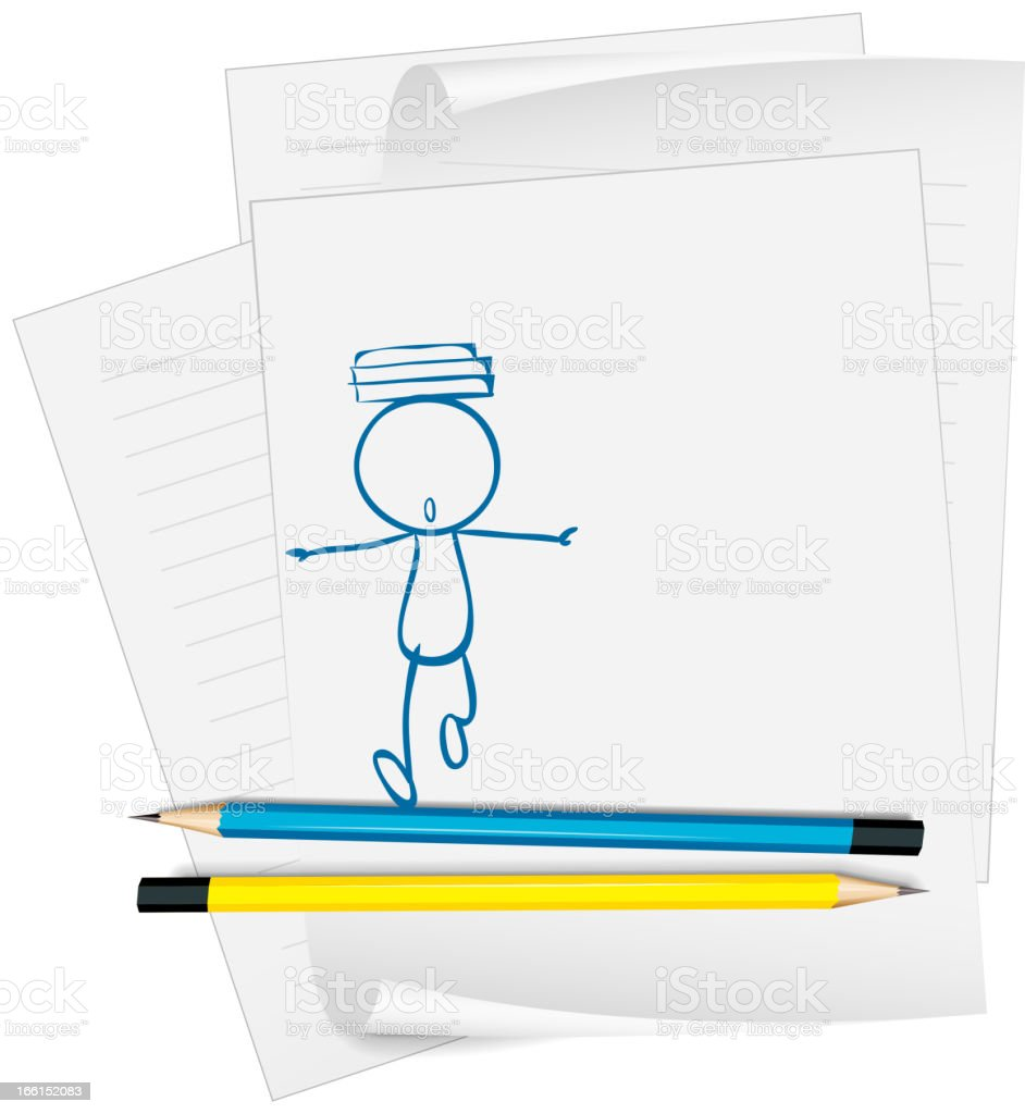 Paper sketch a boy with books above his head royalty-free paper sketch a boy with books above his head stock vector art & more images of artist