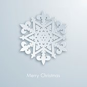 Design greeting card with paper snowflake