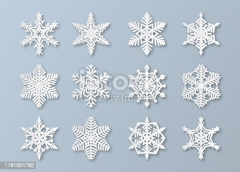 Paper snowflakes. New year and christmas papercut 3d snowflake elements. White winter snow ornament decoration, origami abstract ice vector set