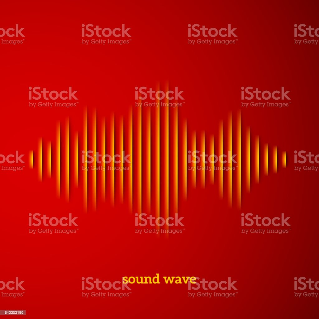Paper sound waveform with shadow vector art illustration