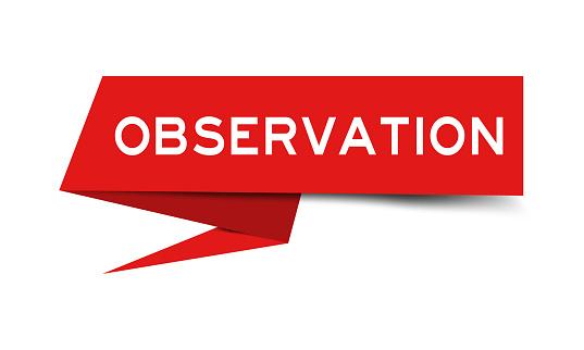 Paper speech banner with word observation in red color on white background (Vector)